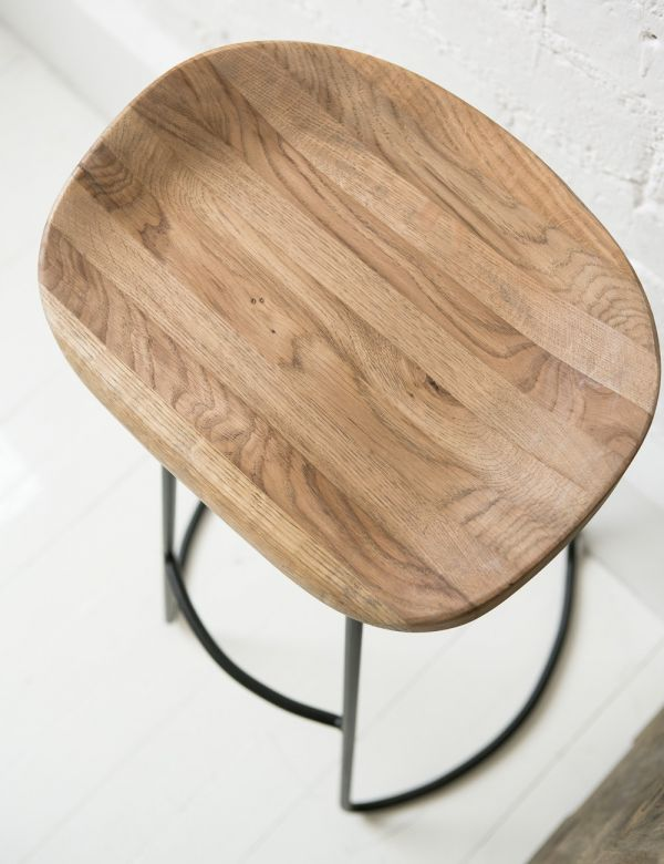 Weathered Oak Metal Stool