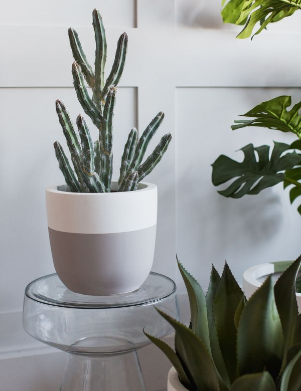 Stripe Fibre Clay Plant Pots by Pow Pots - Three Sizes Available