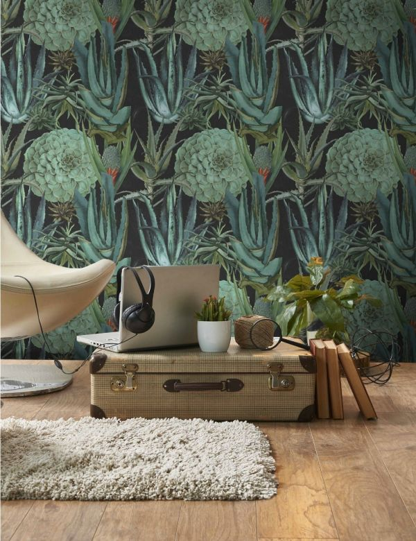 Mind The Gap Wallpaper Collection - Succulentus Anthracite