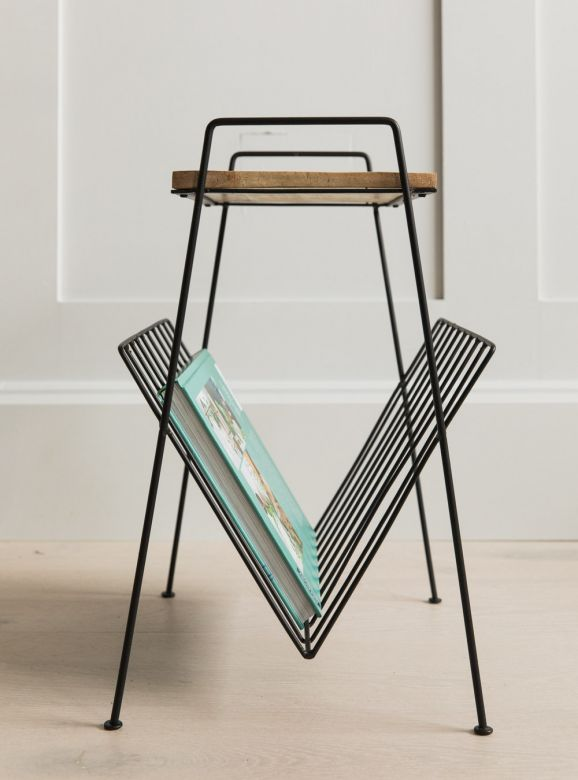 Tall Wood & Metal Magazine Rack