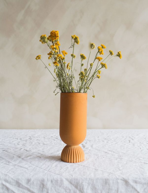 Terracotta Scalloped Vase