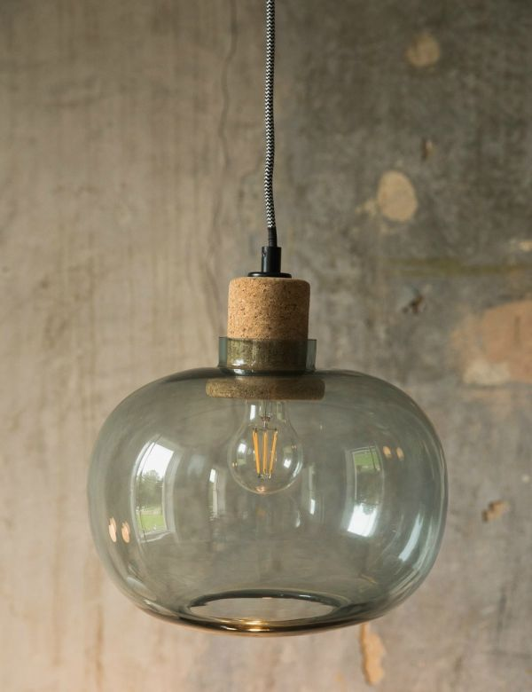 Tivoli Blue Glass & Cork Pendant Light