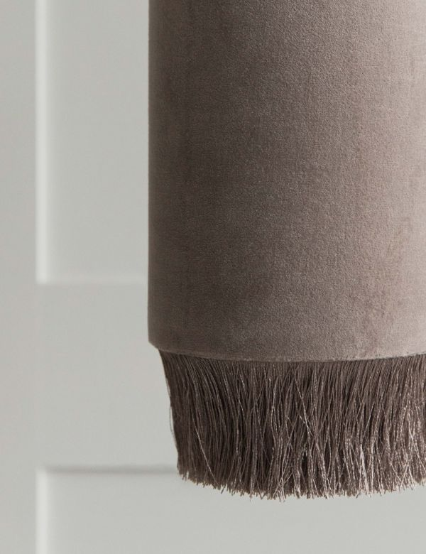 Velvet Fringed Ceiling Lamp - Grey