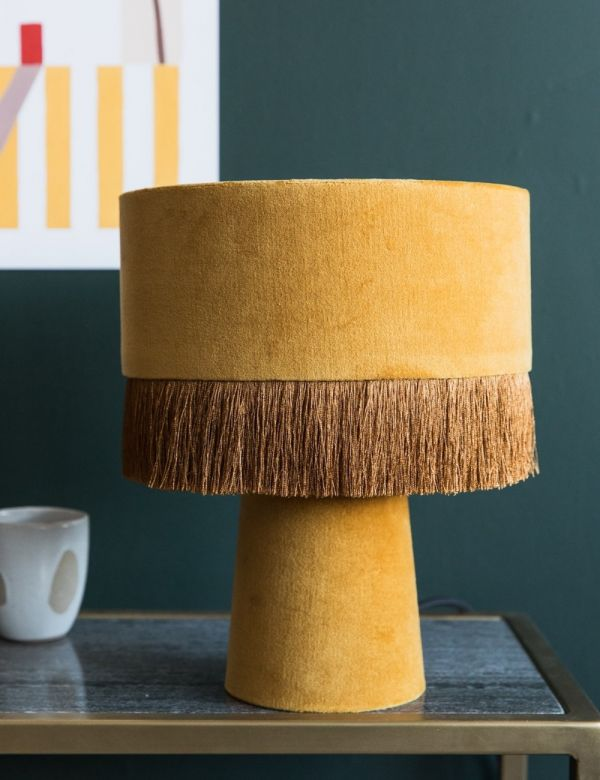 Velvet Fringed Table Lamp
