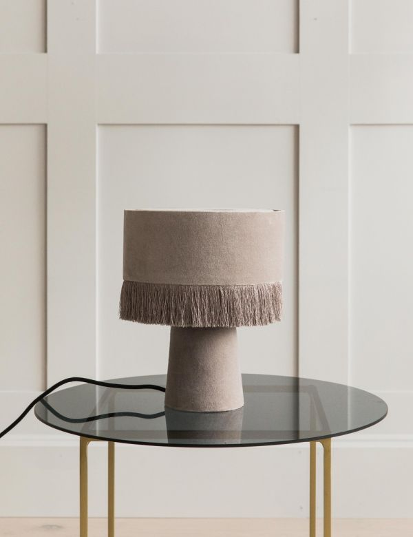 Velvet Fringed Table Lamp - Grey