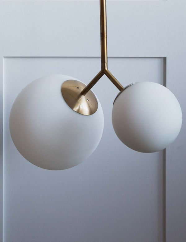 Venice Double Globe Pendant Light - White