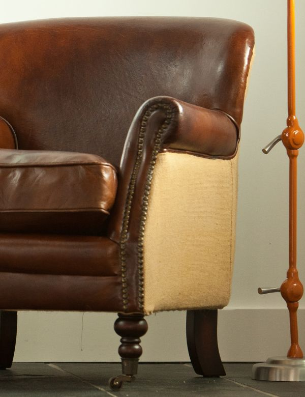 Vintage Leather and Linen Armchair