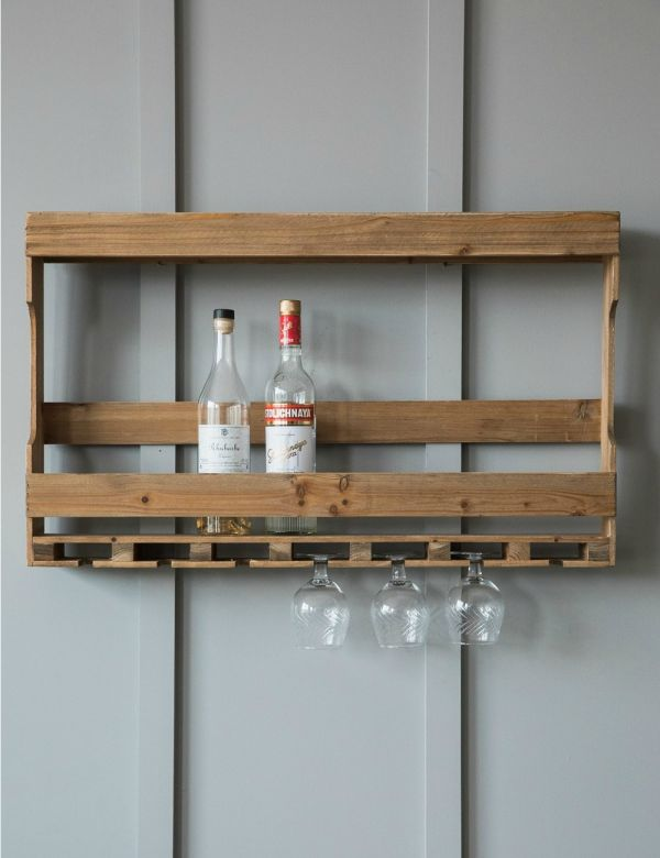 Wall Mounted Rustic Wine Rack