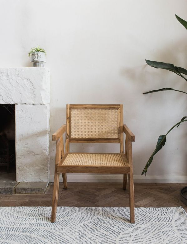 Webbed Cane & Teak Wood Lounge Chair