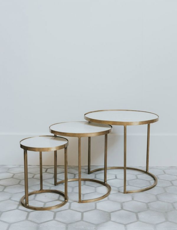 Bebe White Marble & Brass Nesting Coffee Tables