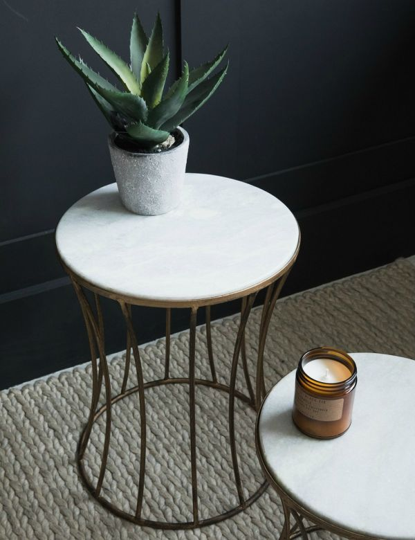 White Marble Drum Side Table - Two Sizes
