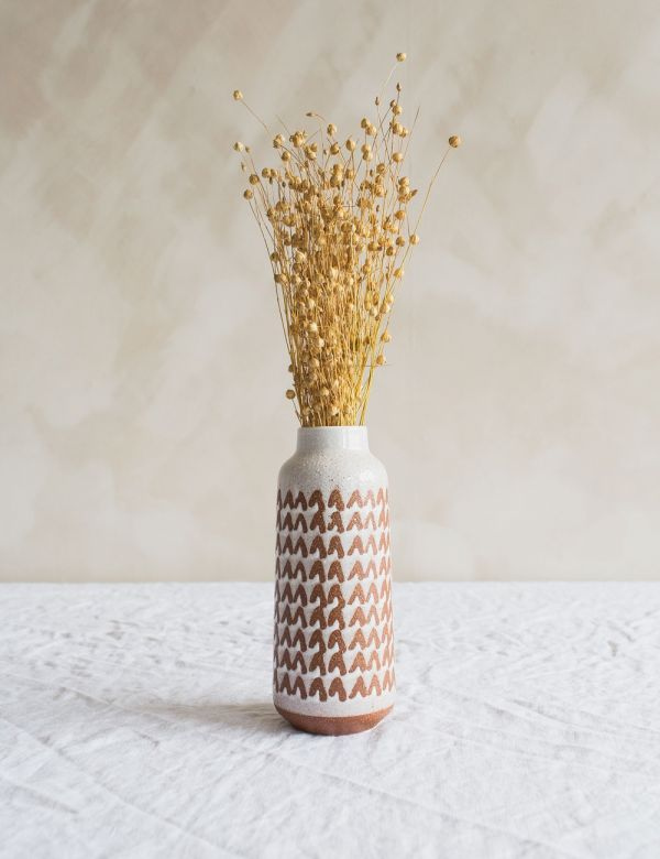 White Printed Ceramic Vase