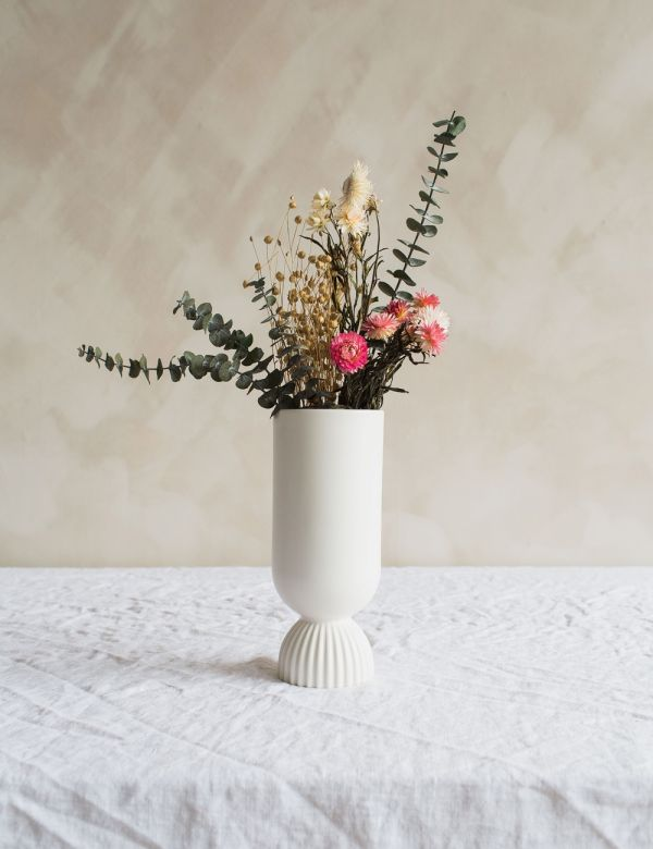 White Scalloped Vase