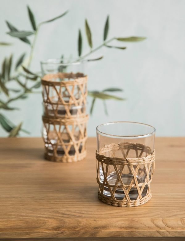 Wicker & Glass Cup