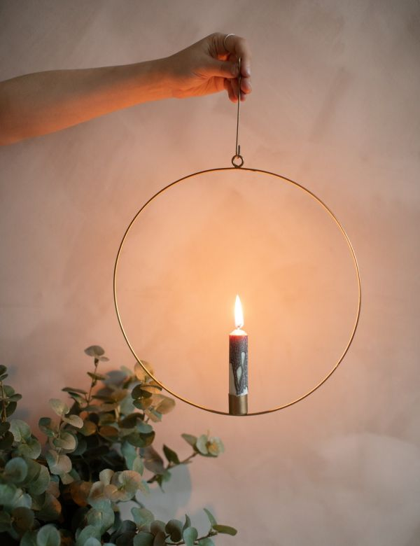 Wire Ring Hanging Candle Holder