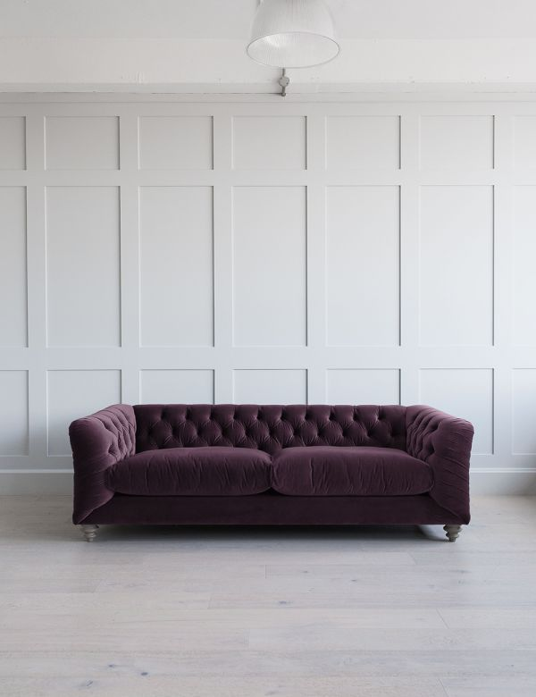 Hugo Chesterfield Sofa 4 Seater in Chalky Violet Velvet