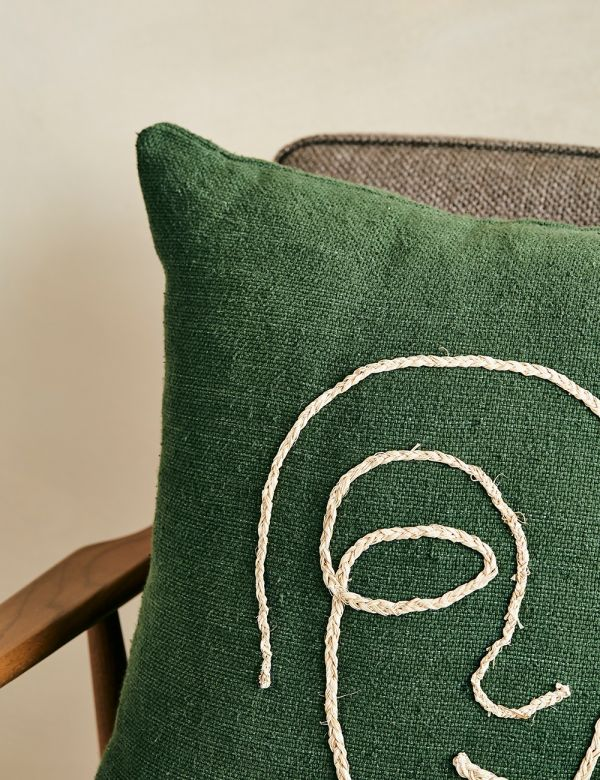 Abstract Face Cushion - Green