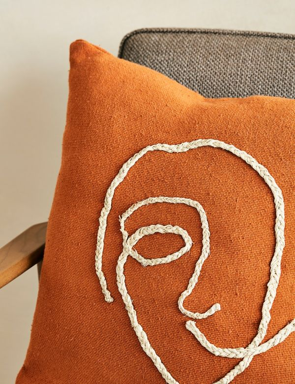 Abstract Face Cushion - Terracotta