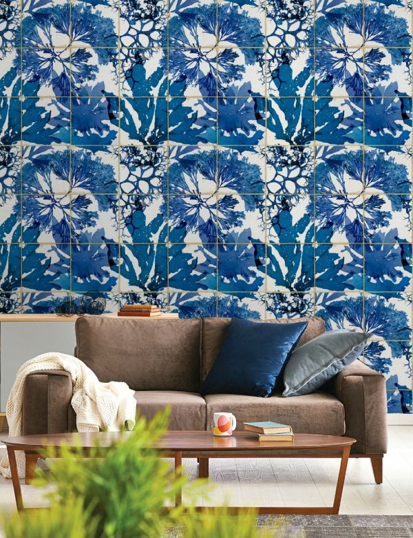 Mind The Gap Wallpaper Collection - Algae in blue