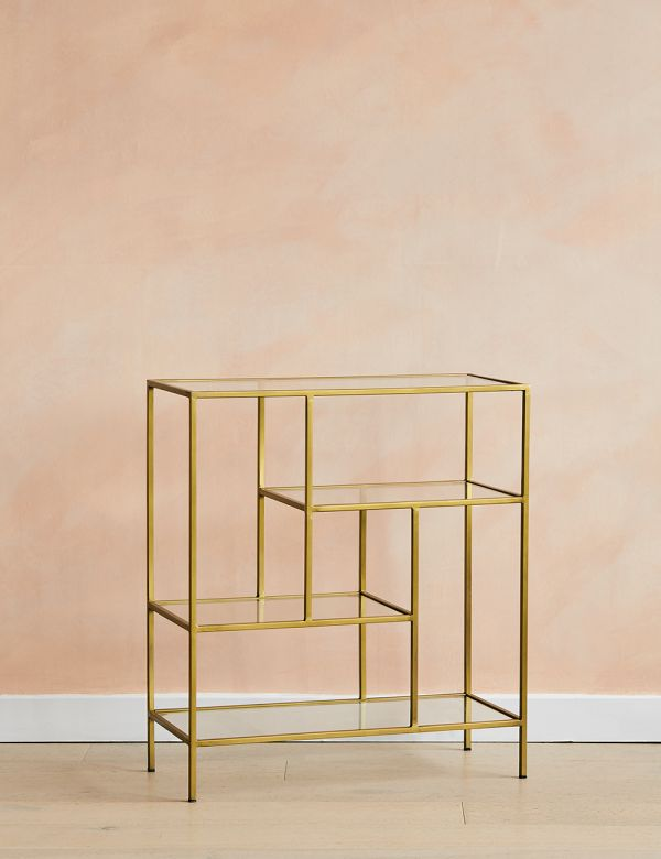 Antique Brass and Glass Console