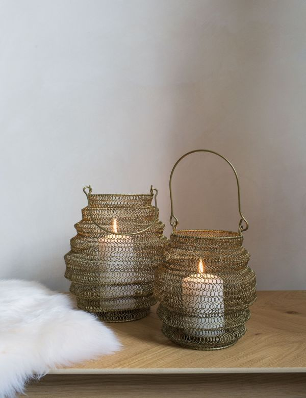 Antique Brass Knitted Lantern - Two Sizes Available