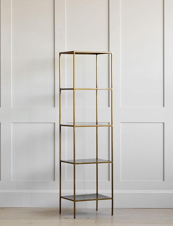Antique Brass Mahi Narrow Shelving Unit