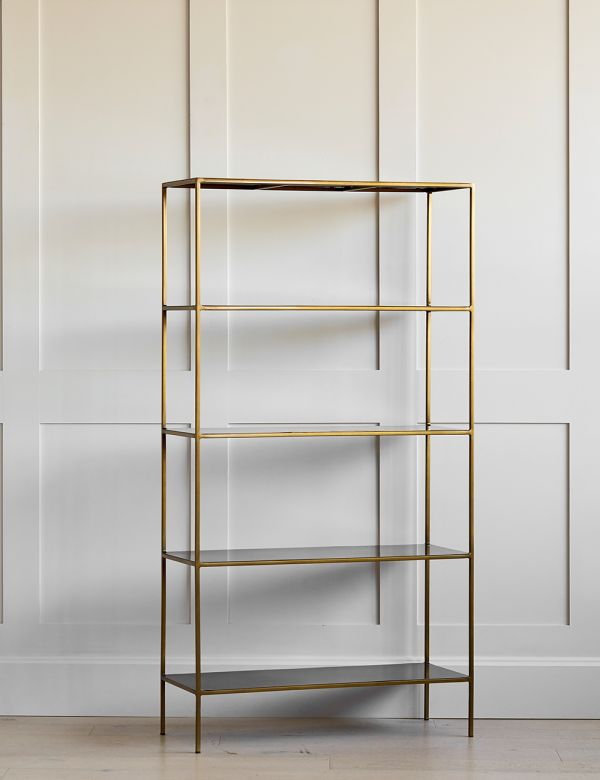 Antique Brass Mahi Wide Shelving Unit