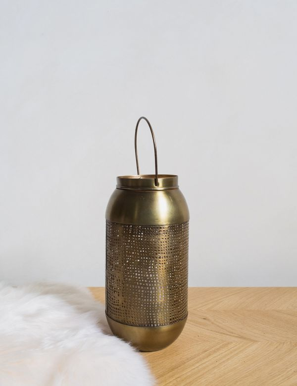 Antique Brass Mesh Lantern