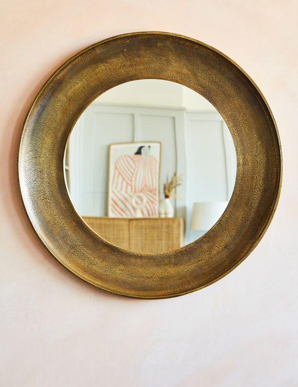 Antique Brass Round Mirrors - Two Sizes Available