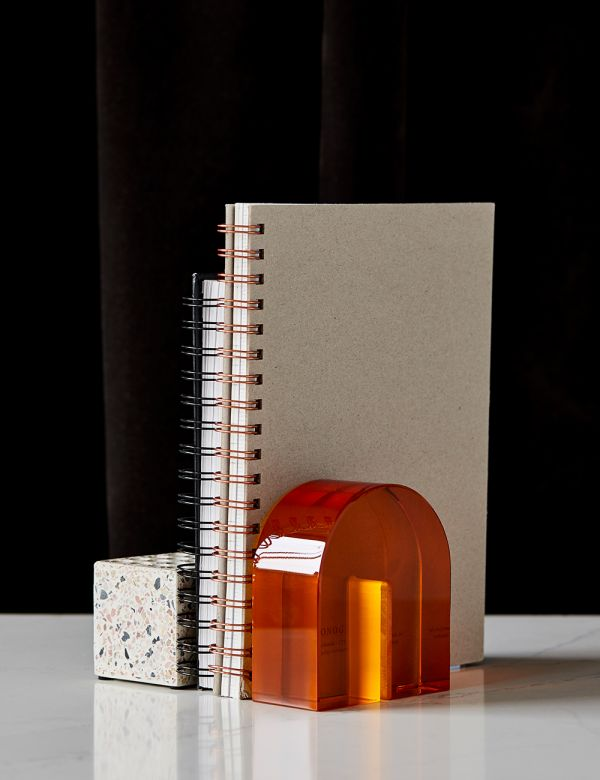 Arch Amber Glass Bookend