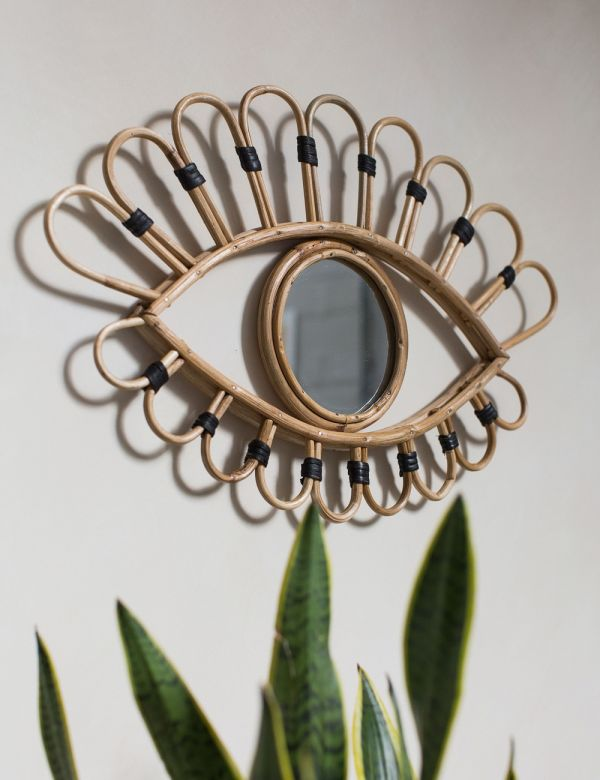Bamboo & Cane Eye Mirror