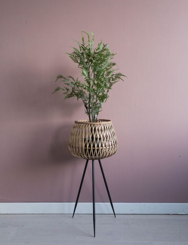 Bamboo Plant Stand with Black Legs