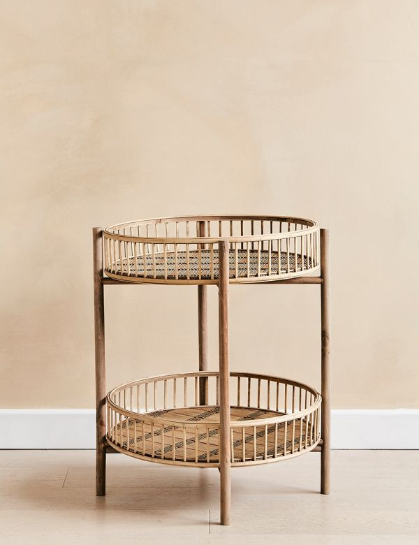 Bamboo Two-Tier Side Table