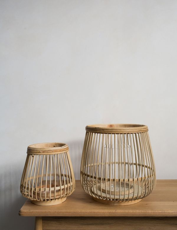 Bamboo, Wood and Glass Cait Lantern - Two Sizes Available
