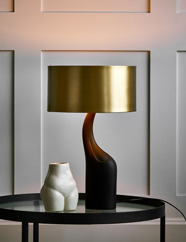 Black and Brass Curve Table Lamp