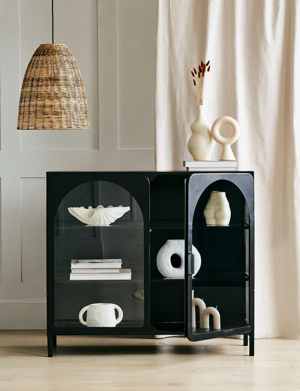 Black Arch Metal & Glass Cabinet