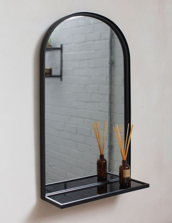 Black Arched Mirror with Shelf