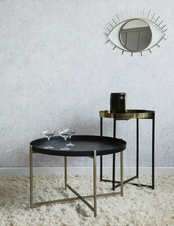Black and Brass Side Tables