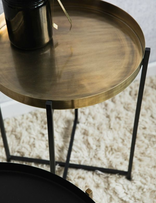 Black & Brass Side Tables - Two Styles Available