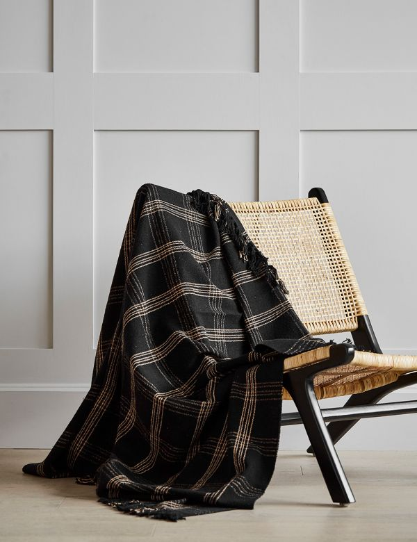 Black Checked Woven Throw