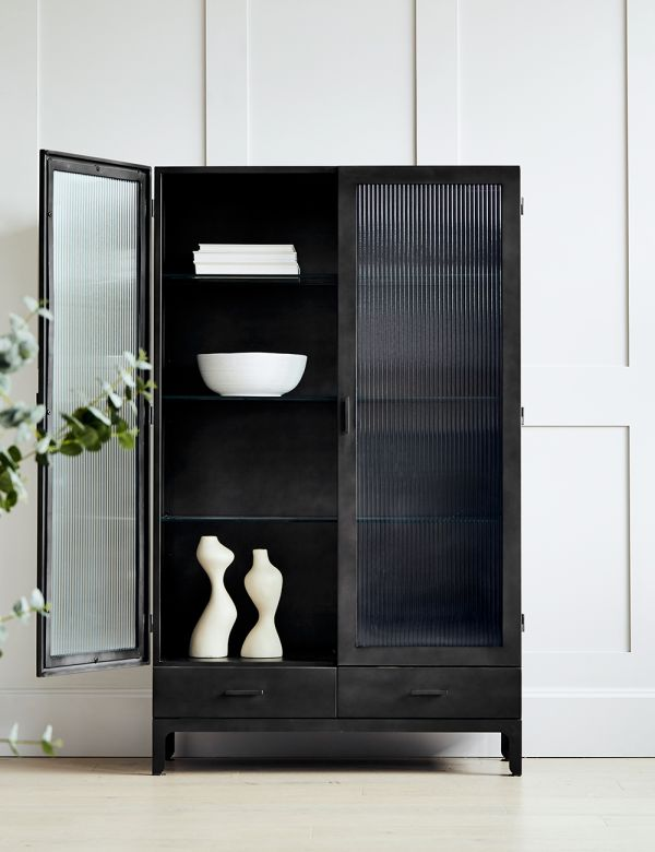 Black Fluted Glass Double Display Cabinet