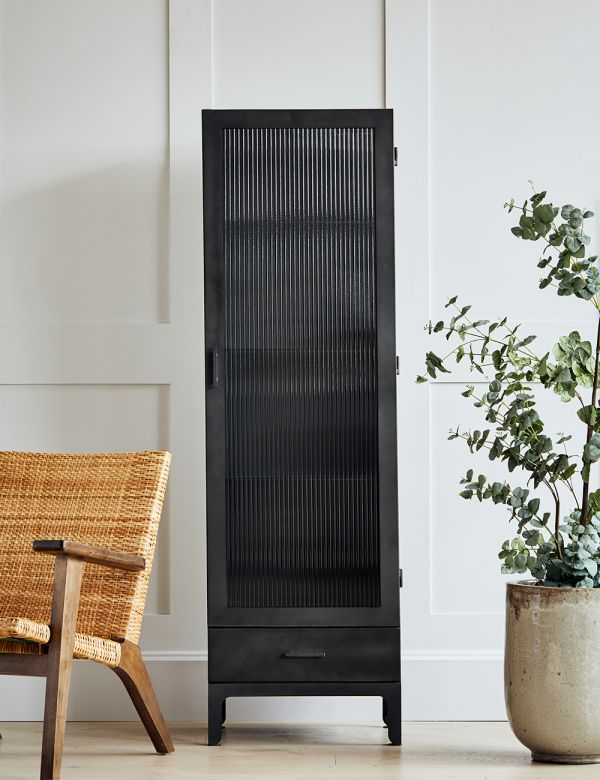 Black Fluted Glass Single Display Cabinet