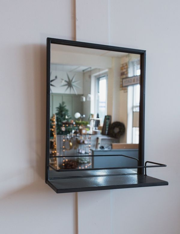 Black Iron Mirror with Shelf