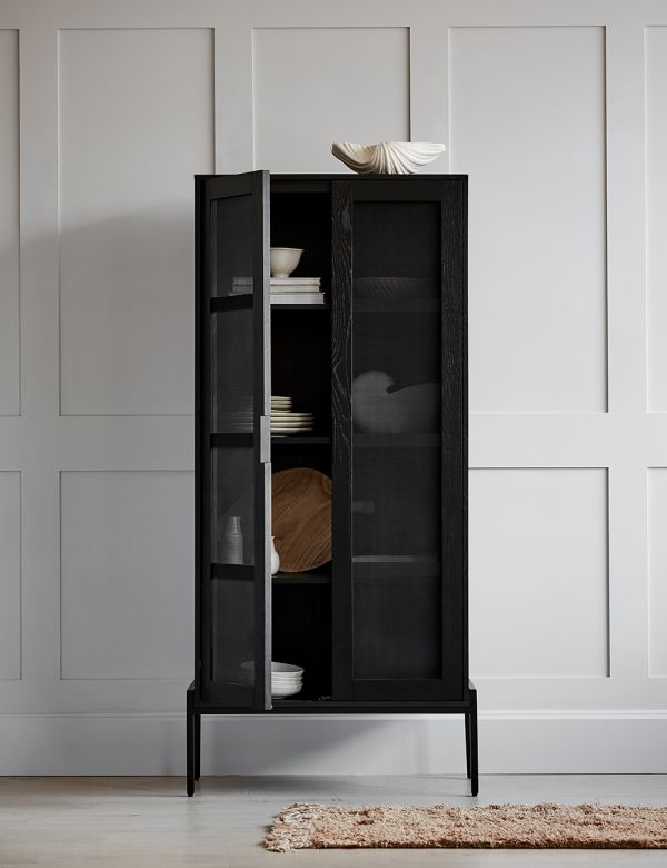 Black Oak Display Cabinet