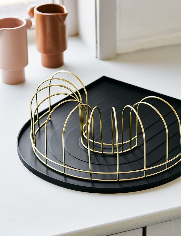 Black Rainbow Dish Tray with Brass Drainer from above