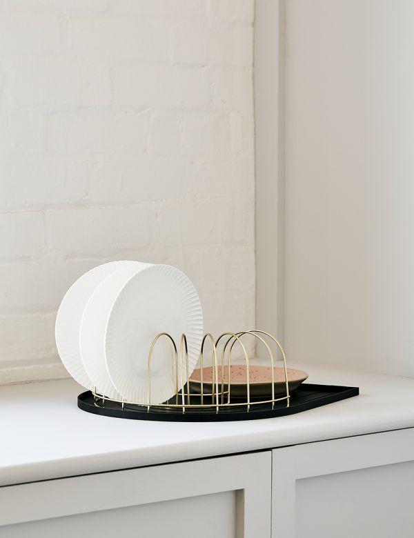 Black Rainbow Dish Tray with Brass Drainer