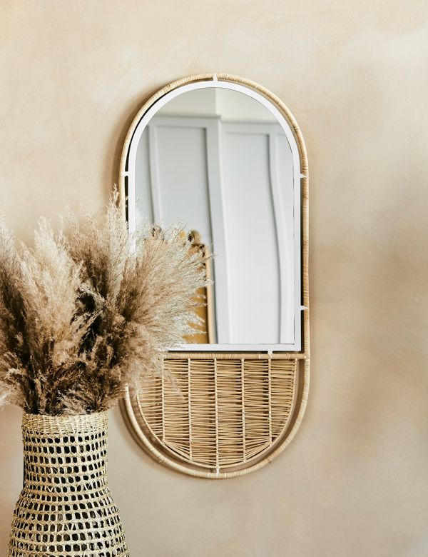 Braided Raffia Oval Mirror