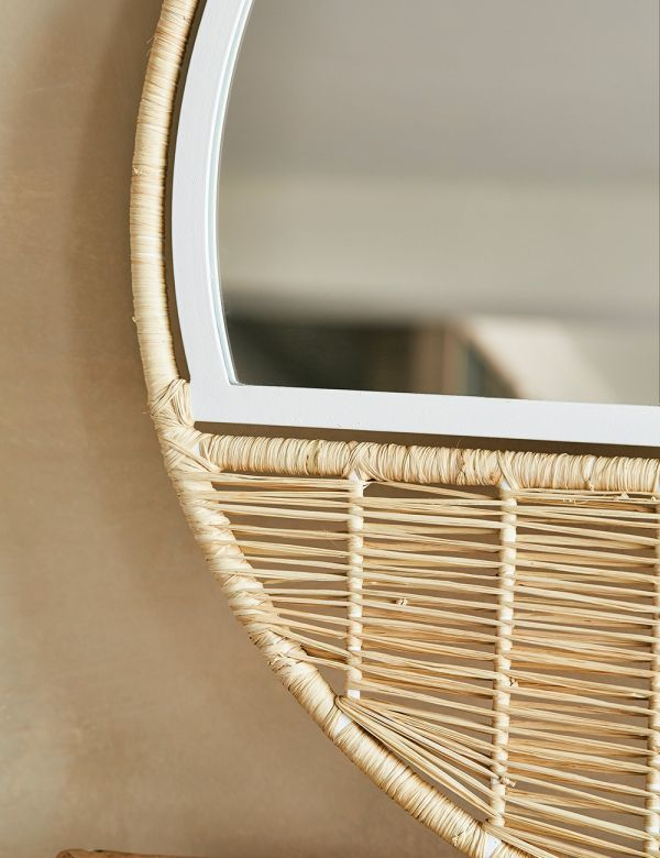 Braided Raffia Round Mirror