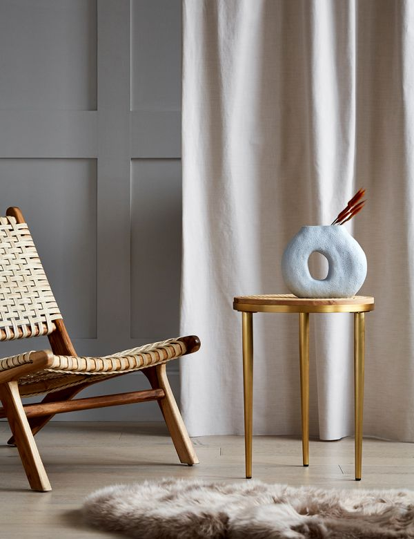 Brass and French Bamboo Hako Side Table