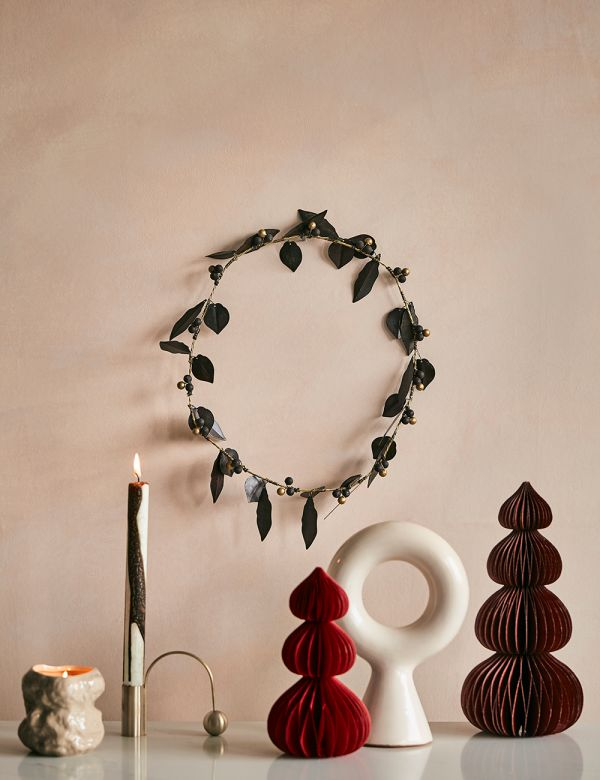 Brass Leaves & Berries Wreath